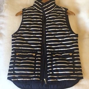 new J Crew striped vest blue and white size small